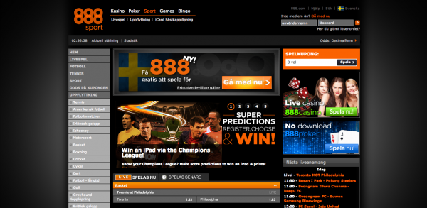 Screenshot av 888 Sportsbook