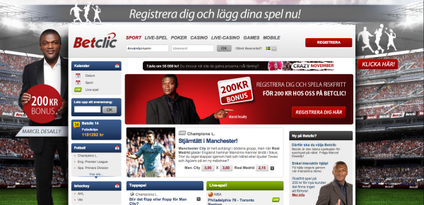 Screenshot av Betclics Sportsbook