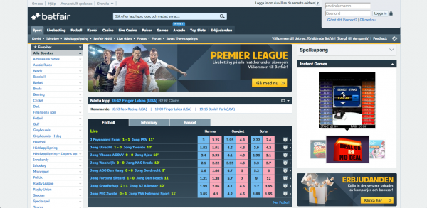 Betfair Sportsbook Screenshot