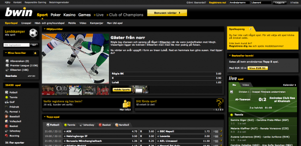 Screenshot Bwin Sportsbook