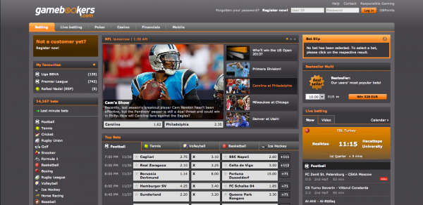 Gamebookers Sportsbook Screenshot