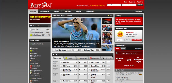 PartyBets Sportsbook Screenshot