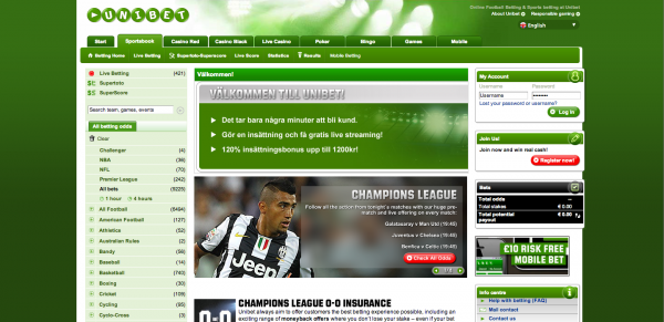 Screenshot av Unibets sportsbook